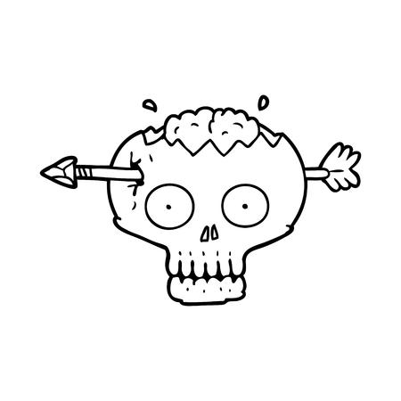 脳ベクトルイラストを通して矢印と漫画の頭蓋骨。