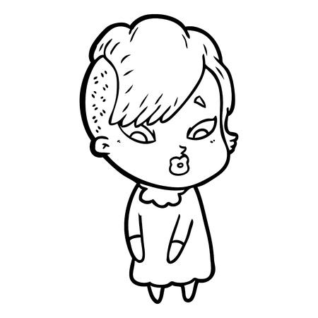 Hand gezeichnete Karikatur überraschtes Mädchen Standard-Bild - 95762706