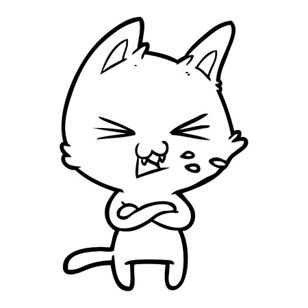 Hand drawn cartoon cat with crossed arms