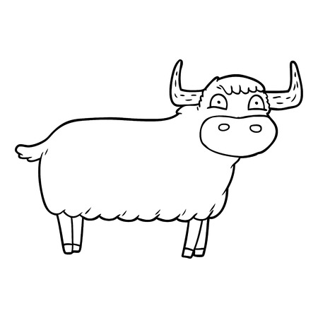 cartoon highland cow Vector illustration.  イラスト・ベクター素材