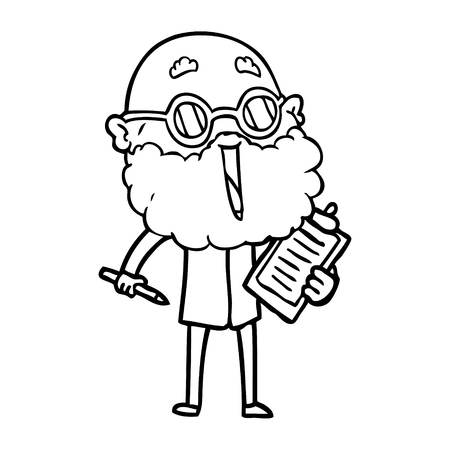 Hand drawn cartoon joyful man with beard Ilustração