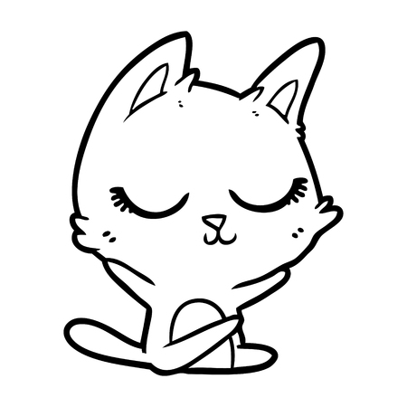 Calm and carefree kitten cartoon