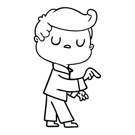 Hand drawn cartoon aloof man pointing finger Illustration