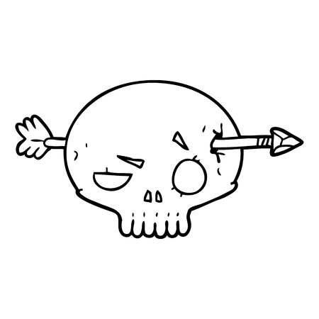 cartoon skull shot through by arrow Vector illustration.