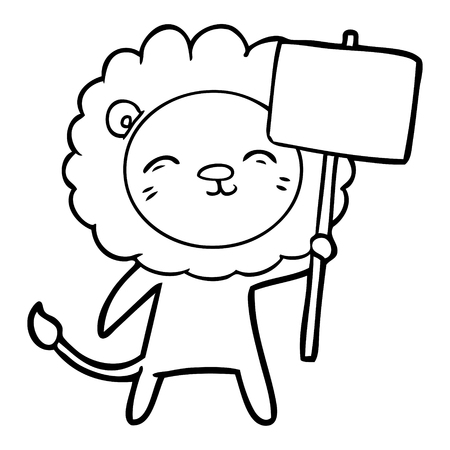 cartoon lion with protest sign Stock Vector - 95771488