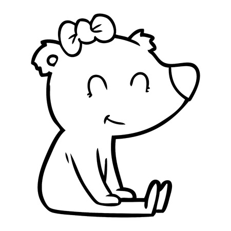 Sitting and contented female bear cartoon 向量圖像