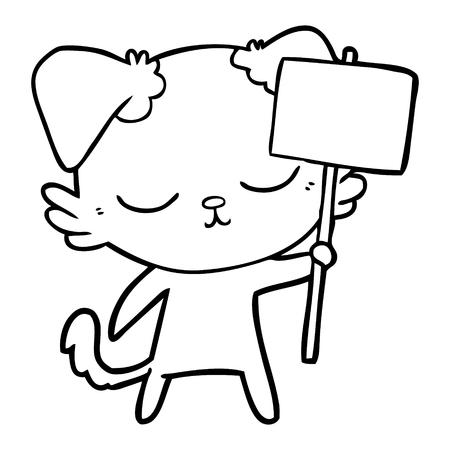 Cute but shy cartoon dog holding a placard