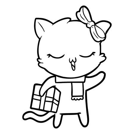 cartoon girl cat with christmas present Vector illustration.