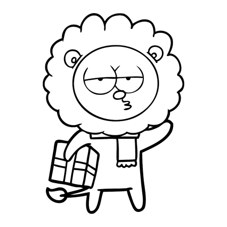 Tired and bored lion with gift and scarf cartoon Ilustracja