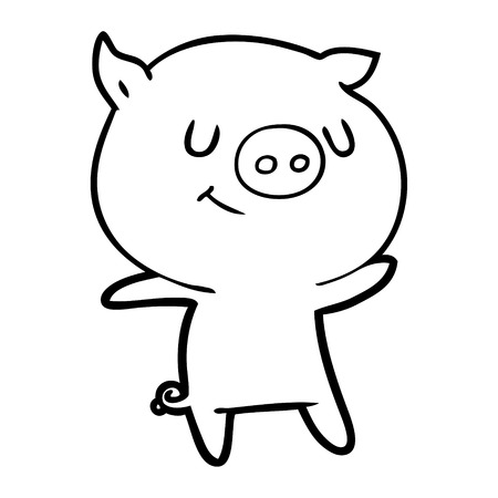 Contented bubbly pig cartoon
