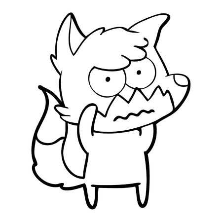 Confused and annoyed fox cartoon