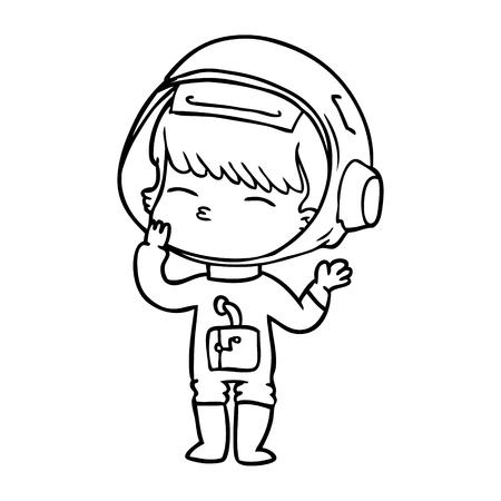 cartoon curious astronaut wondering Vector illustration. Illustration