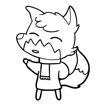 Confused cute fox cartoon with a scarf