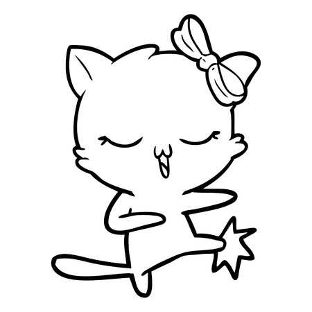 Pretty kitten cartoon with a bow on head while kicking Çizim