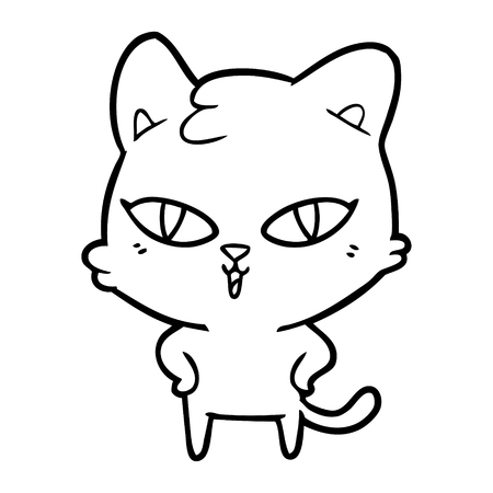 Intimidating cute kitten cartoon