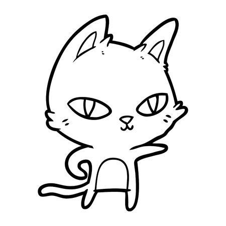 Fuzzy cartoon kitten staring Ilustrace