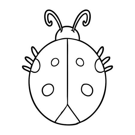 Hand drawn cartoon ladybug  イラスト・ベクター素材