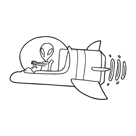 Hand drawn cartoon alien spacecraft