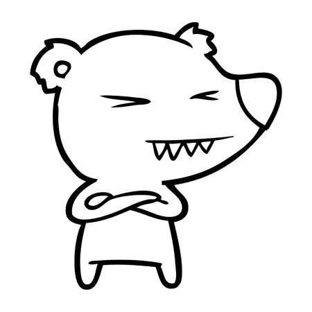 Disappointed polar bear cartoon with folded arms Stockfoto - 95773606