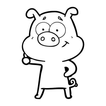 Cute bubbly pig cartoon Stock Illustratie