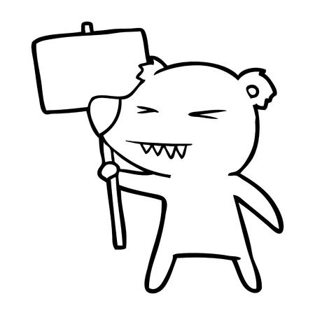 Hand drawn angry bear cartoon protesting Illustration