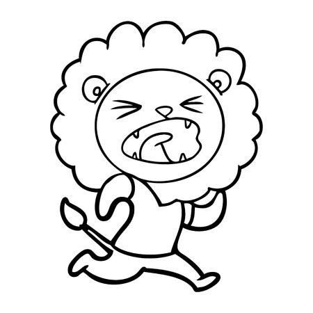 ベクターイラストを実行している漫画ライオン。