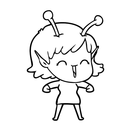 Funny and gleeful cartoon alien girl