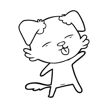 Cunning cartoon dog sticking out tongue