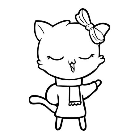 머리에 활과 스카프를 입고 귀여운 고양이 일러스트