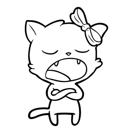 Hand drawn annoyed cartoon cat
