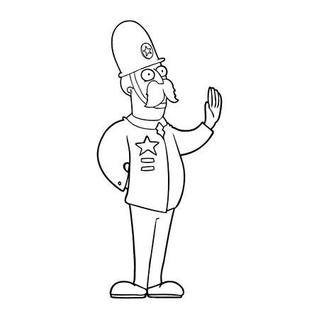 Hand drawn cartoon policeman making stop gesture Illustration