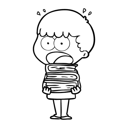 Hand drawn cartoon shocked boy with stack of books