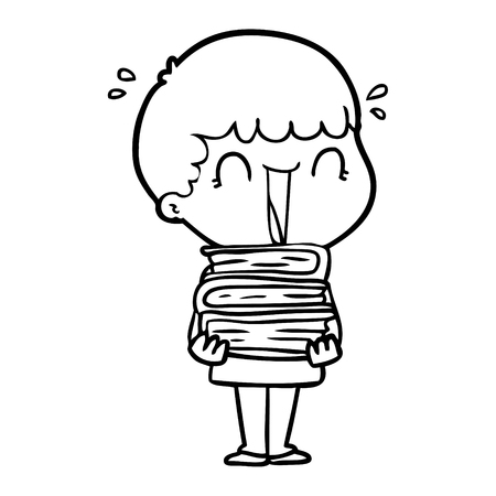 Hand drawn laughing cartoon man holding stack of books