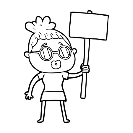 cartoon protester woman wearing spectacles Illustration