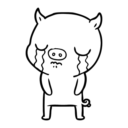 Hand drawn cartoon pig crying  イラスト・ベクター素材