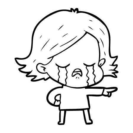 Hand drawn cartoon girl crying and pointing