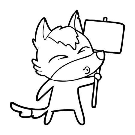Hand drawn cartoon wolf with protest sign Ilustração