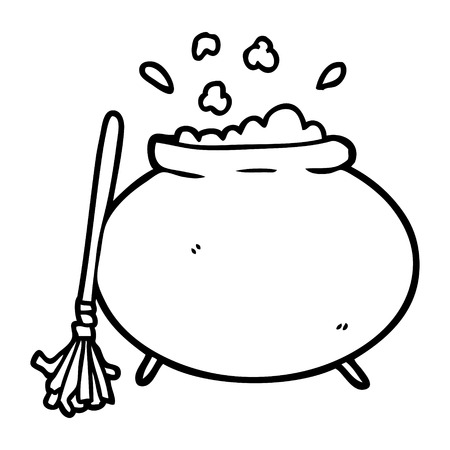 Hand drawn cartoon cauldron Stock Illustratie