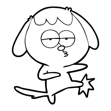 Hand drawn cartoon bored dog kicking leg Çizim