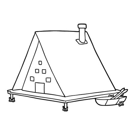 シンプルな漫画の湖の家