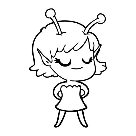 Delighted alien girl cartoon Иллюстрация
