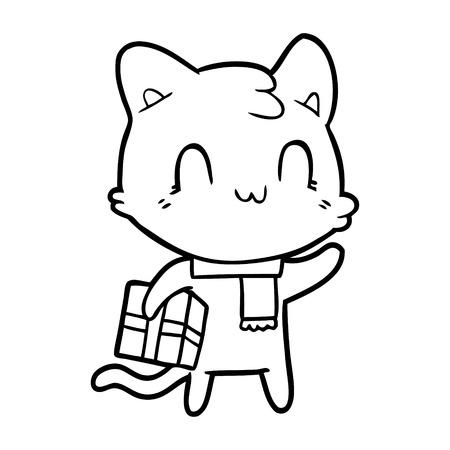 cartoon happy cat wearing scarf Vector illustration. Ilustracja
