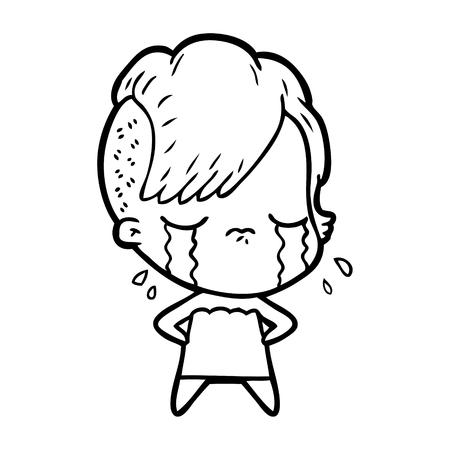 Weinen herrliches Karikaturmädchen Standard-Bild - 95773623