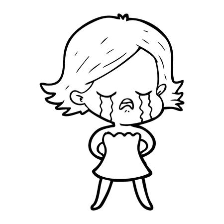Pretty cartoon girl wailing