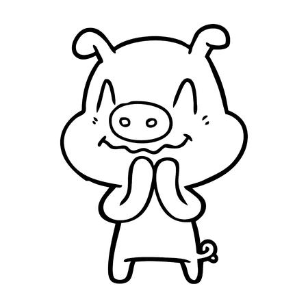 nervous cartoon pig Ilustração