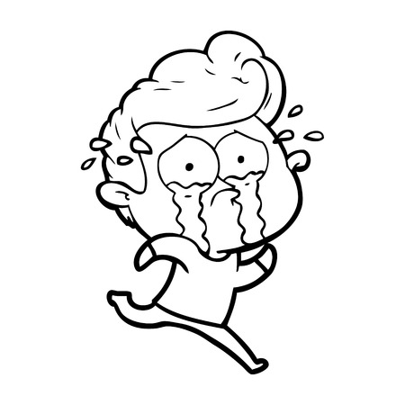 cartoon crying man running Vector illustration.
