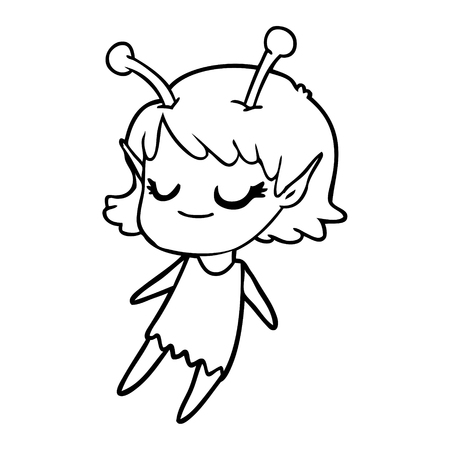 Hand drawn smiling alien girl cartoon floating