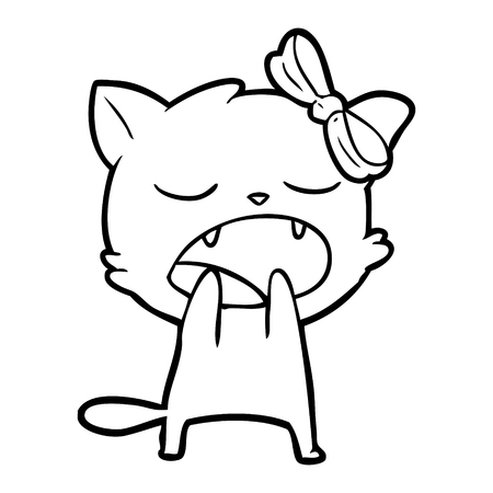 Cute kitten cartoon yawning with bow on head and two visible teeth