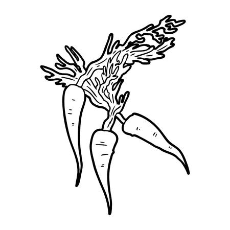 Hand drawn cartoon carrots Illustration