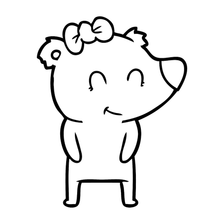 Hand drawn female polar bear cartoon Archivio Fotografico - 95764052